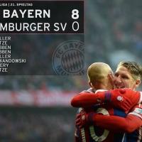 Луд ден за Бундеслигата! Байерн съсипа Хамбургер с 8:0